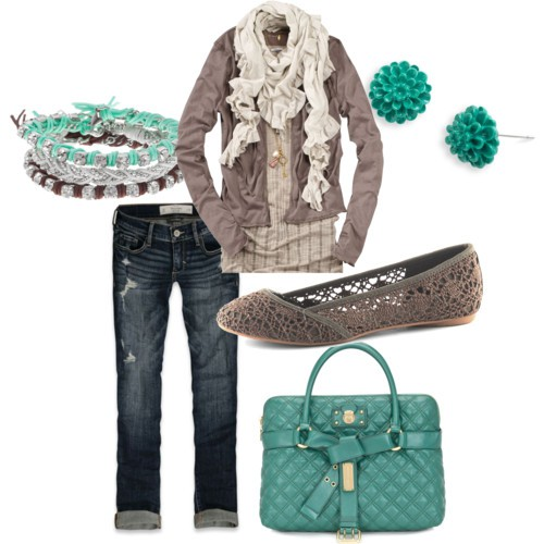 gray and teal fall fashion