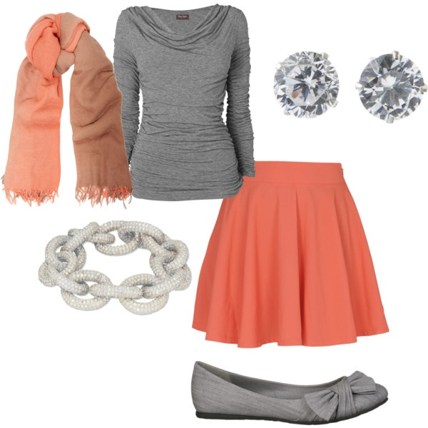 greay and peach fall fashion