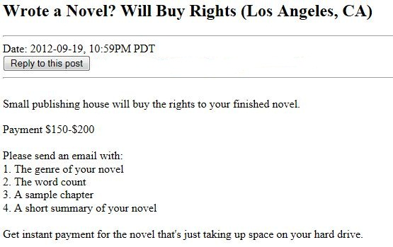 Craig's List Ad - Will buy rights to your novel