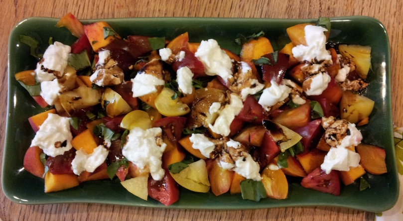Pinterest inspired tomato peach burrata salad