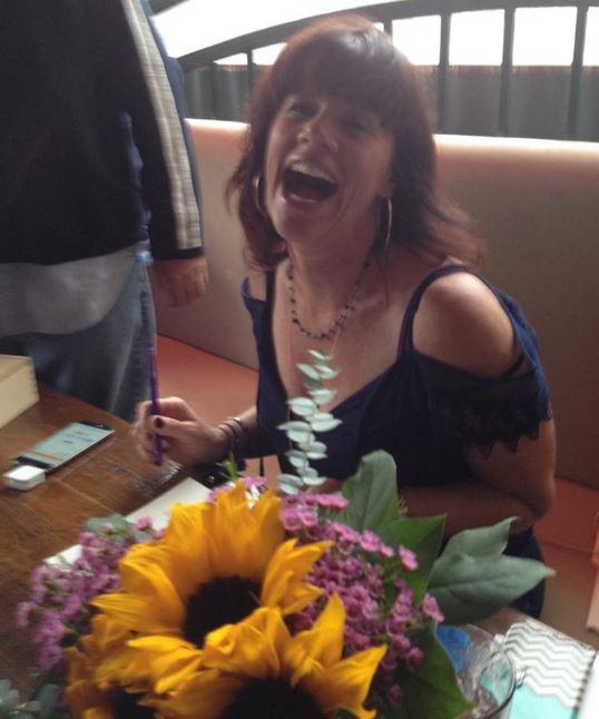 Book signing.laughing
