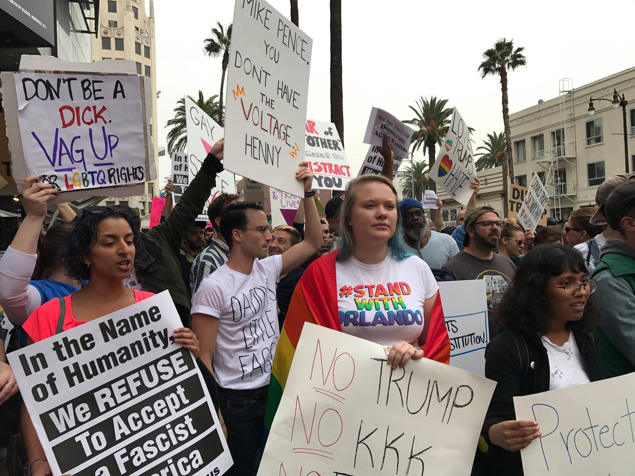 trump protest hollywood