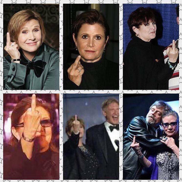 Carrie Fisher Flipping people off