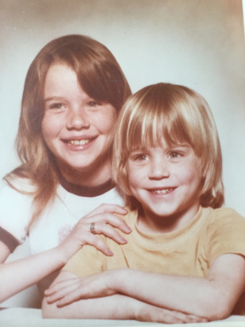 retro 70's siblings photograph