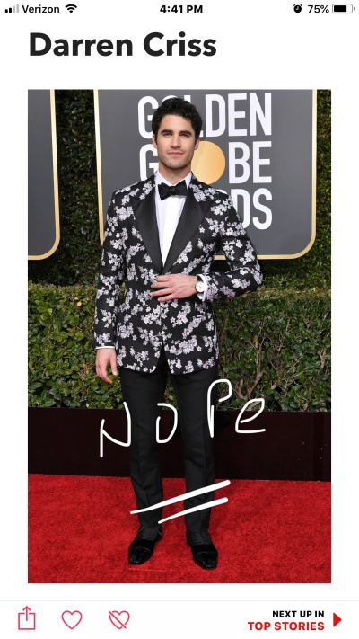 darren criss golden globe red carpet