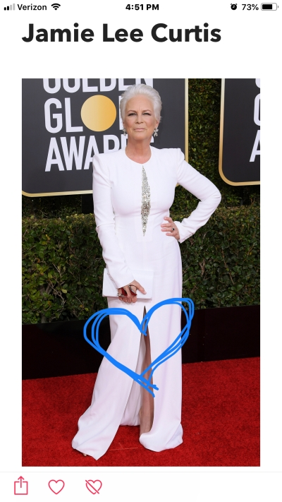 jamie lee curtis golden globe red carpet