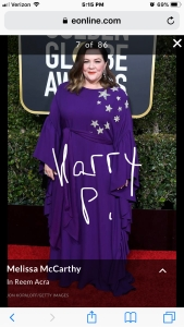 melissa mccarthy golden globes red carpet