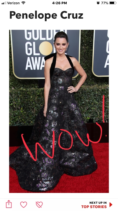 penelope cruz golden globes red carpet